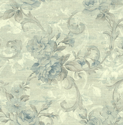 Scrolling Floral Wallpaper in Clouded Skies from the Nouveau Collection by Wallquest