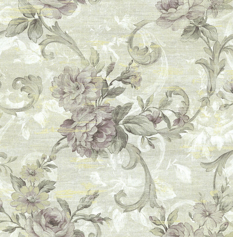 Scrolling Floral Wallpaper in Midnight Rose from the Nouveau Collection by Wallquest