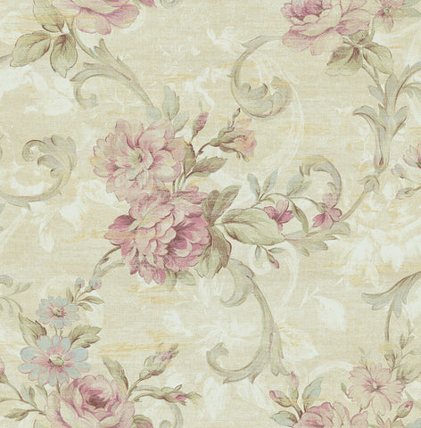 Scrolling Floral Wallpaper in Rosy from the Nouveau Collection by Wallquest