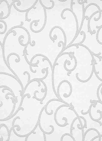 Scrollwork 2 Paintable Wallpaper in White design by BD Wall