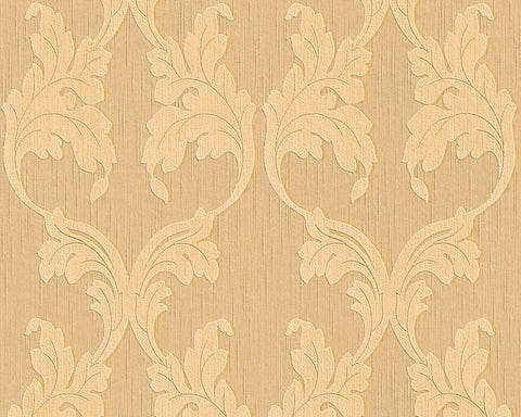 Scrollwork Floral Curve Wallpaper in Beige and Orange design by BD Wall