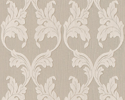 Scrollwork Floral Curve Wallpaper in Beige design by BD Wall