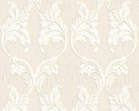 Scrollwork Floral Curve Wallpaper in Cream and Beige design by BD Wall