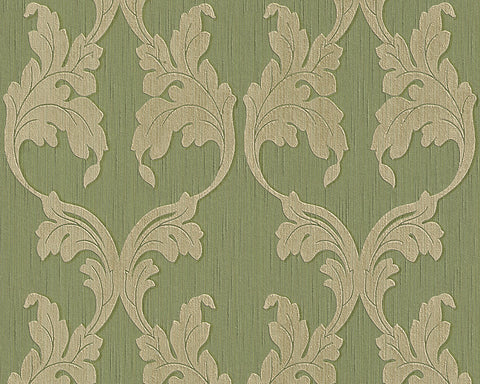 Scrollwork Floral Curve Wallpaper in Green design by BD Wall