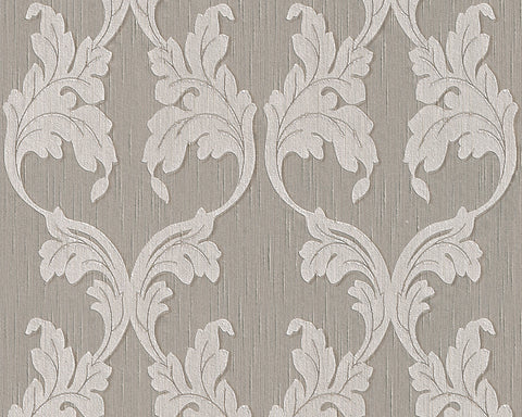 Scrollwork Floral Curve Wallpaper in Grey and Beige design by BD Wall