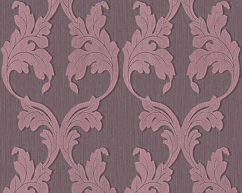 Scrollwork Floral Curve Wallpaper in Purple design by BD Wall