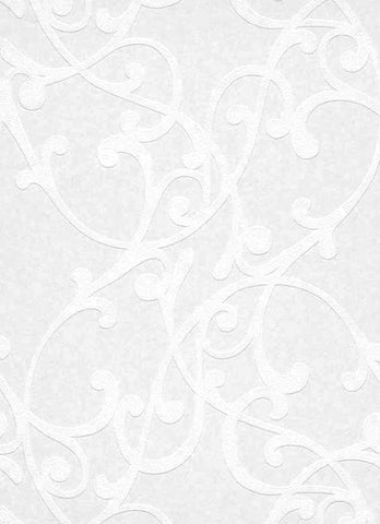 Scrollwork Paintable Wallpaper in White design by BD Wall