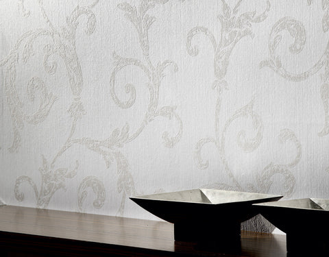 Scrollwork Wallpaper in Grey design by BD Wall