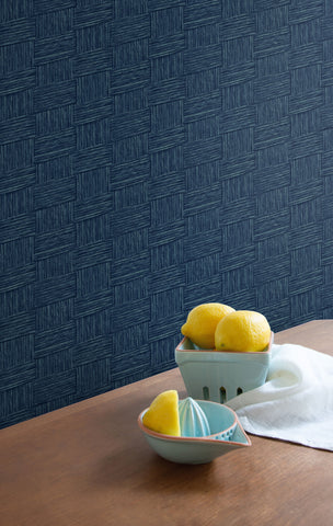 Seagrass Weave Wallpaper in Carolina Blue from the More Textures Collection by Seabrook Wallcoverings