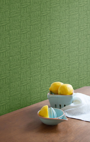 Seagrass Weave Wallpaper in Green from the More Textures Collection by Seabrook Wallcoverings