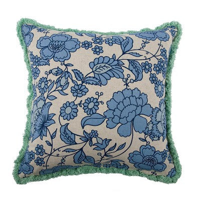 "Seahorse 18"" Vineyard Pillow in Mint design by Thomas Paul"