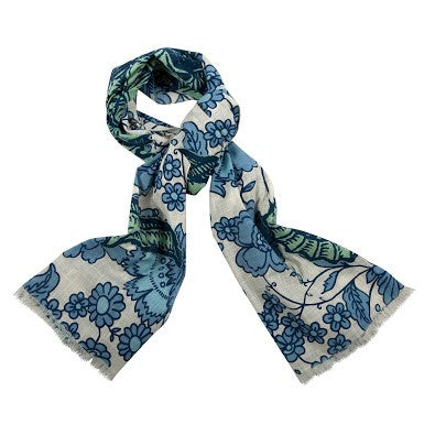 Seahorse Vineyard Cotton Scarf in Mint design by Thomas Paul