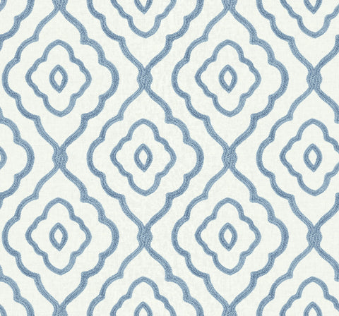 Seaside Ogee Wallpaper in Blue Oasis from the Beach House Collection by Seabrook Wallcoverings