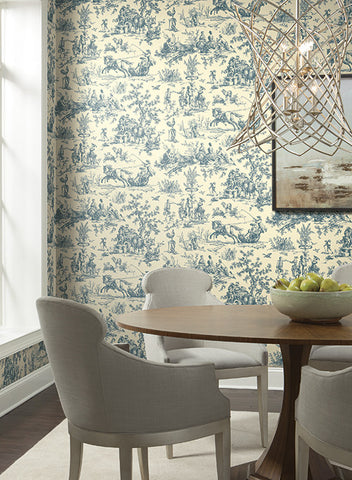 Seasons Toile Wallpaper in Black and White by Ashford House for York Wallcoverings