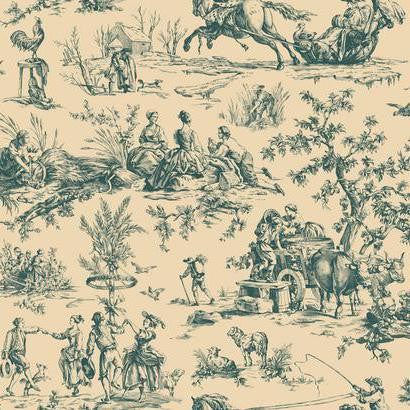 Seasons Toile Wallpaper in Blue and Cream by Ashford House for York Wallcoverings