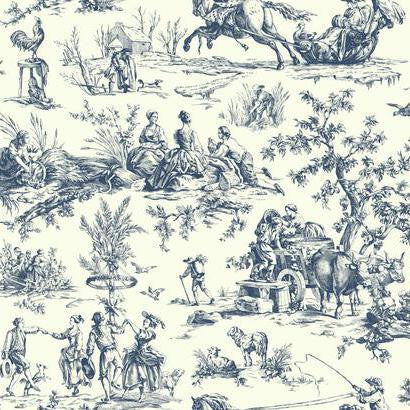 Seasons Toile Wallpaper in Blue by Ashford House for York Wallcoverings