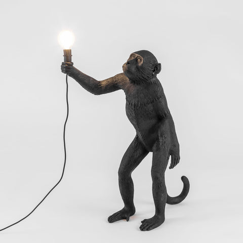 The Monkey Lamp in Black Standing Version design by Seletti