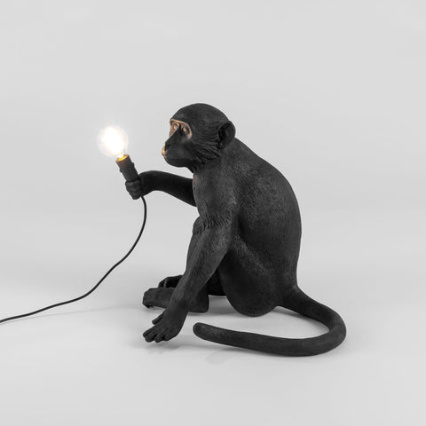 The Monkey Lamp in Black Sitting Version