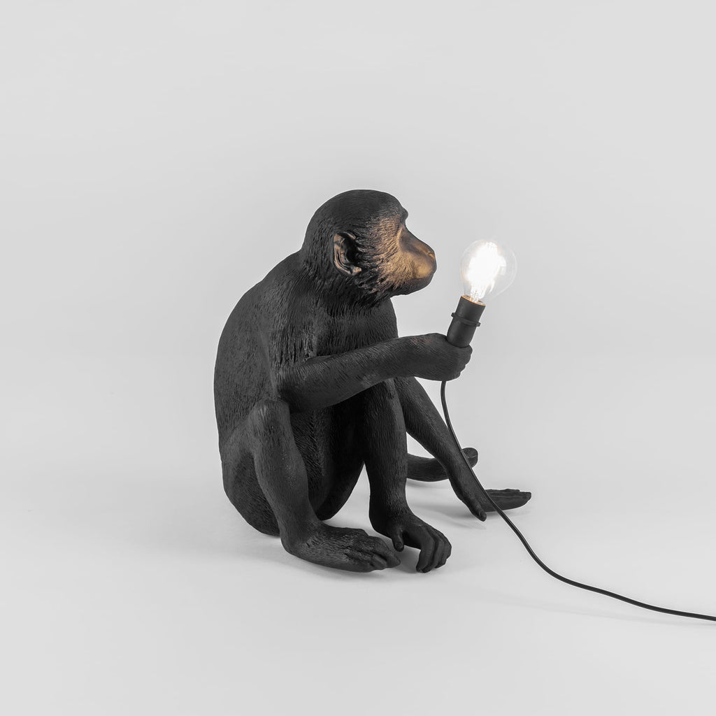 The Monkey Lamp in Black Sitting Version design by Seletti