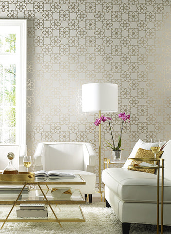 Serendipity Geo Overlay Wallpaper by York Wallcoverings