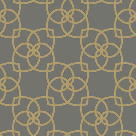 Serendipity Geo Overlay Wallpaper in Gold and Dark Neutrals by York Wallcoverings