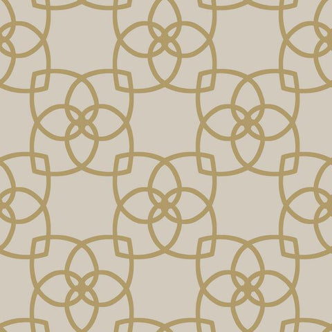 Serendipity Geo Overlay Wallpaper in Gold and Grey by York Wallcoverings