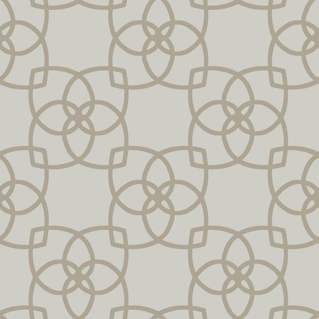 Serendipity Geo Overlay Wallpaper in Grey and Pale Metallic Gold by York Wallcoverings