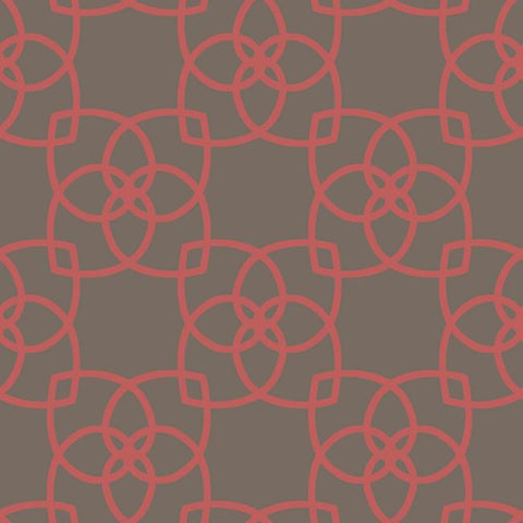 Serendipity Geo Overlay Wallpaper in Metallic Coral and Brown by York Wallcoverings