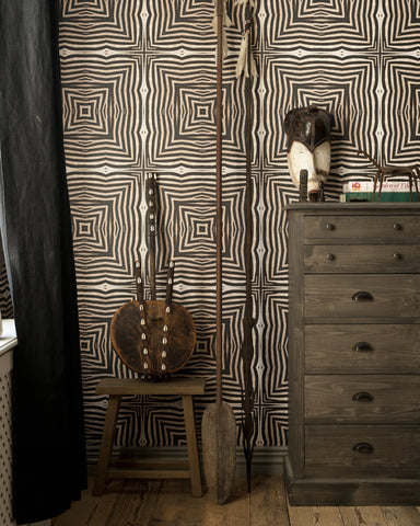 Serengeti Wallpaper in Black and Taupe from the Wallpaper Compendium Collection by Mind the Gap