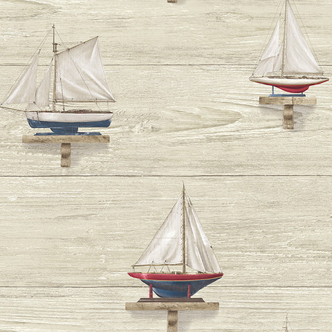 Set Sail Beige Wood Wallpaper from the Seaside Living Collection by Brewster Home Fashions