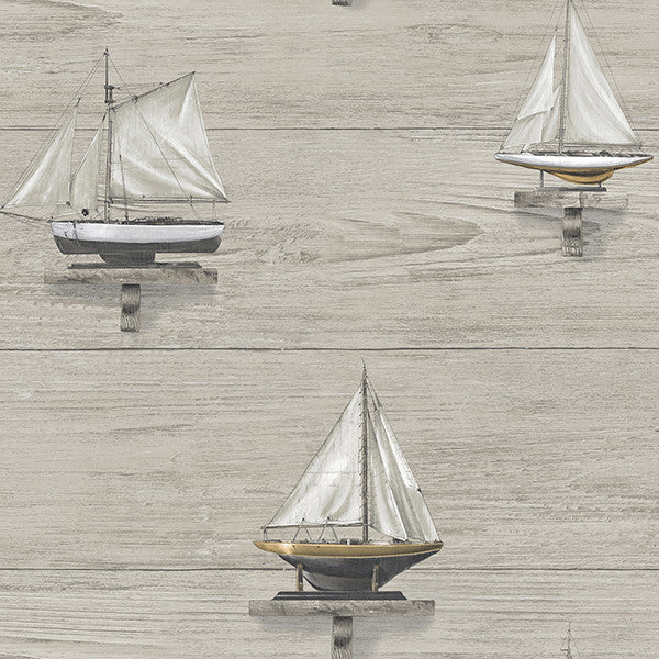 Set Sail Grey Wood Wallpaper from the Seaside Living Collection by Brewster Home Fashions