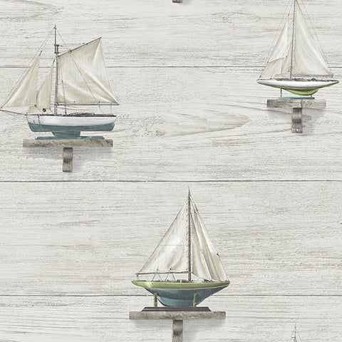 Set Sail White Wood Wallpaper from the Seaside Living Collection by Brewster Home Fashions