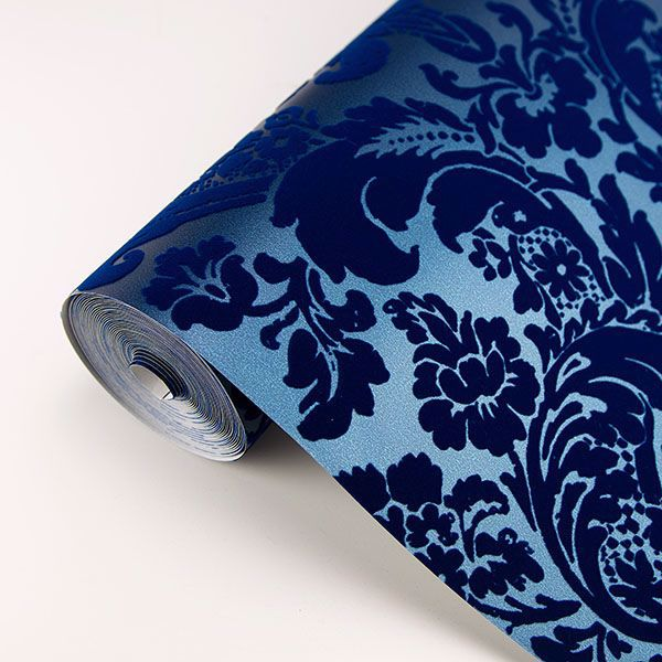 Shadow Damask Wallpaper in Blue from the Moonlight Collection by Brewster Home Fashions