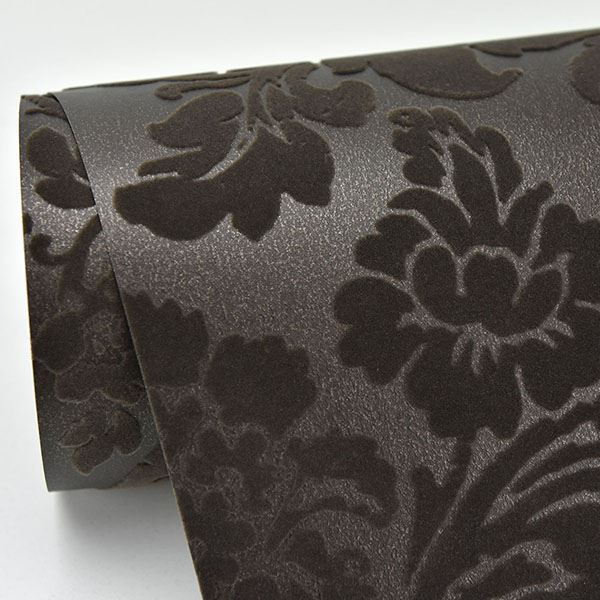 Shadow Damask Wallpaper in Brown from the Moonlight Collection by Brewster Home Fashions