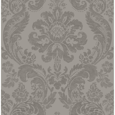 Shadow Damask Wallpaper in Grey from the Moonlight Collection by Brewster Home Fashions