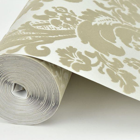 Shadow Damask Wallpaper in Khaki from the Moonlight Collection by Brewster Home Fashions