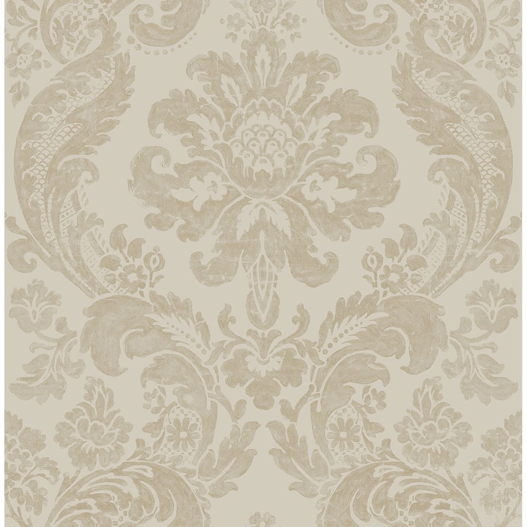 Sample Shadow Damask Wallpaper in Khaki from the Moonlight Collection by Brewster Home Fashions