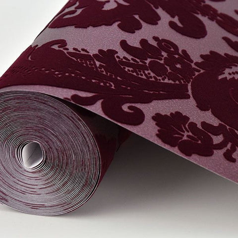 Shadow Damask Wallpaper in Merlot from the Moonlight Collection by Brewster Home Fashions