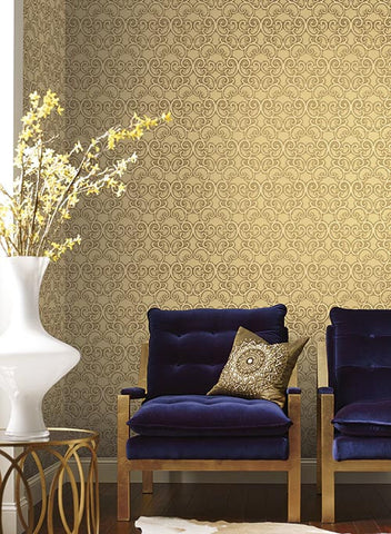 Shadow Scroll Wallpaper by Antonina Vella for York Wallcoverings