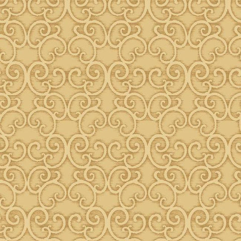 Shadow Scroll Wallpaper in Gold and Beige by Antonina Vella for York Wallcoverings
