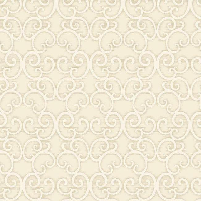 Sample Shadow Scroll Wallpaper in Metallic and Soft Grey by Antonina Vella for York Wallcoverings