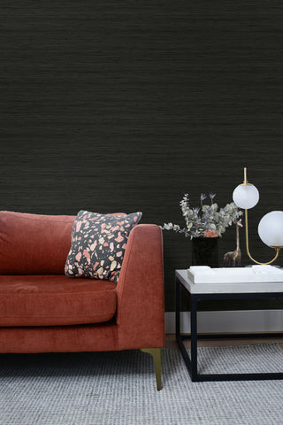 Shantung Silk Wallpaper in Blacksmith from the More Textures Collection by Seabrook Wallcoverings