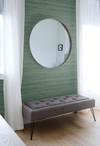 Shantung Silk Wallpaper in Forage Green from the More Textures Collection by Seabrook Wallcoverings