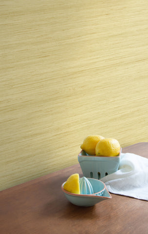 Shantung Silk Wallpaper in Lemon Zest from the More Textures Collection by Seabrook Wallcoverings