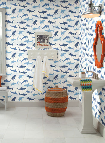 Shark Charades Wallpaper in Teal and Silver from the A Perfect World Collection by York Wallcoverings