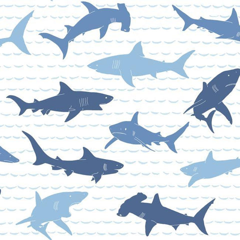 Shark Charades Wallpaper in Blues from the A Perfect World Collection by York Wallcoverings