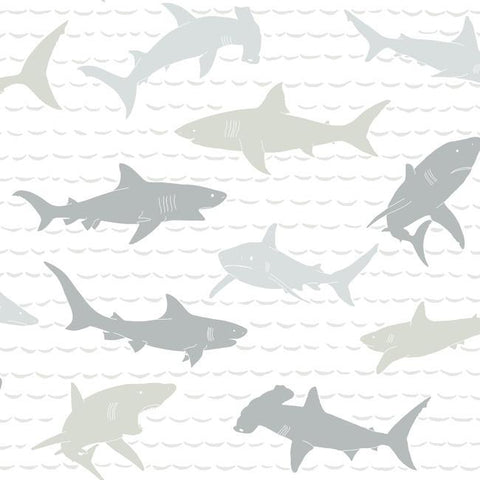 Shark Charades Wallpaper in Neutral from the A Perfect World Collection by York Wallcoverings