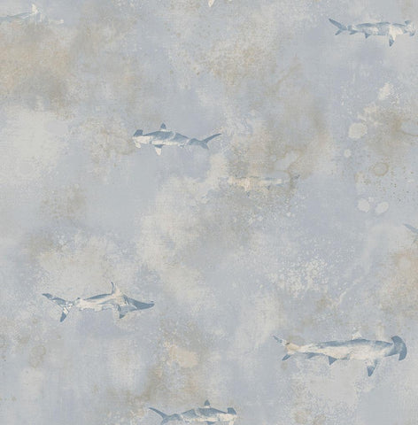 Sharks Wallpaper in Grey, Blue, and Silver from the Aerial Collection by Mayflower Wallpaper