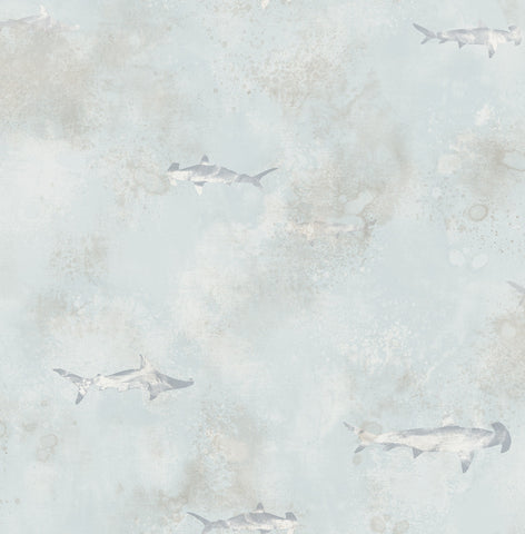 Sharks Wallpaper in Grey, Cream, and Gunmetal from the Aerial Collection by Mayflower Wallpaper