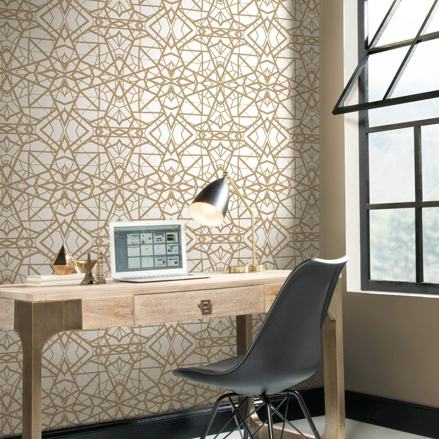 Shatter Geometric Peel Stick Wallpaper In White And Gold By Roommate Burke Decor